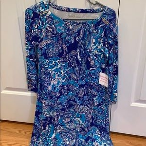 blue and purple lilly pulitzer long sleeved dress